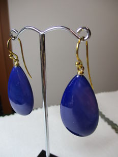 18 kt gold earrings with Lilac agate - Length: 3 cm
