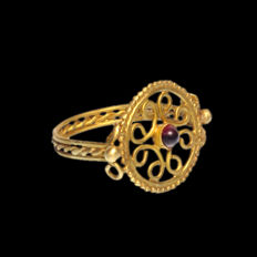 Byzantine Gold and Garnet Open-Work Ring, 2.2 cm inside D