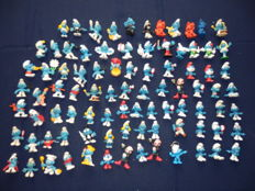 Large collection of 89 old Smurfs
