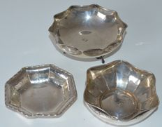 Three silver bowls/dishes, different shapes