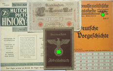 German Arbeitsbuch: 2nd type from Hannover + Banknote + Ration coupon card + Hutchinsons Pictorial History of the war. WW2