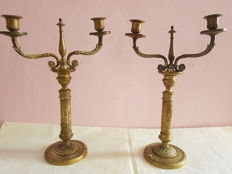 Pair of gilt bronze candlesticks, Italy, 1820