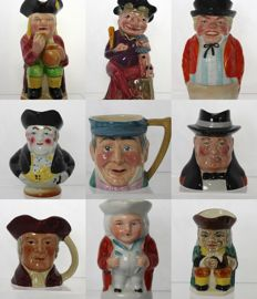 Collection of 9 Antique & Vintage British Pottery Toby & Character Jugs - Churchill, John Bull, Punch