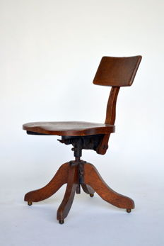 "Industrial oak revolving desk chair by ""Heywood Bros & Wakefield Company"" - United States - ca. 1900"