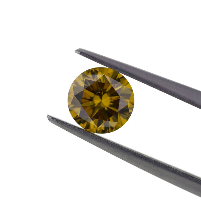 1 pcs Diamant - 1.07 ct - Rond - fancy deep brown yellow - SI1