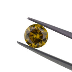 Natural Fancy Deep Yellow Brown 1.07ct. Round Brilliant Cut Diamond, IGI Certified