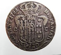"Kingdom of Naples – 120-Grana Piastra – 1788 – Ferdinand IV – ""Imperfect Layout of Central Lilies"" – Silver"