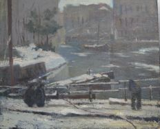Unknown. (20th century) - A cityscape with frozen river.