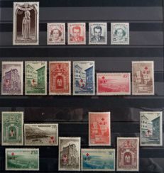 Monaco 1924/1951 - lot of semi-modern values including a Red Cross series, Yvert 200/214 (except 211), 379a/382a + BF 31 and 39 non-perforated
