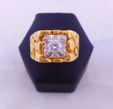 18 kt gold ring with central diamond - 1970s