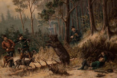 Unknown artist - Bear hunting scene in Tsar Russia - Circa 1900