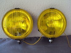 Pair of vintage yellow headlights - iodine star 500 highbridge - ca. 1970 / 1980