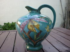 West German enamelled ceramic pitcher, flowers and branches