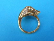 18 kt gold dog's head ring - Diameter: 17 mm