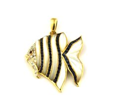 Sapphire (1.80ct)  & Diamond (0.25ct) , Cabochon Ruby with Mother of pearl Angel Fish 18Karat Gold Pendant - Size 4cm x 3cm