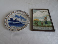 Porceleyne fles - Memorial plate 1914 and commemorative tile 1945