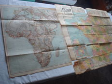 "Third Reich; Lot with 2 x old original maps from 1940/1941, ""Africa card, knapsack font of the oberkommando of the Wehrmacht, notebook 21 1940-41"" and ""Nouvelle Carte de France"" WW2"