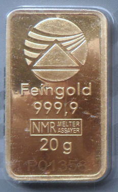 20 Gramm Nadir PIM GOLD bar fine gold, fineness 999.9/1,000 sealed; 24 Karat Goldbarren Bullion, LBMA certified.