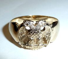 10 kt / 417 gold, Freemasons ring, Masonic double eagle, eagle with 2 heads, ring size 64 / 20.3 mm, around 1940