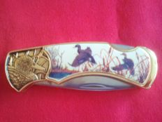 Franklin mint pocket knife -  collector's knife, Duck 24 carat gold-plated