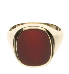 14 kt yellow gold signet ring set with carnelian - size 20.5