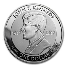 British Virgin Islands - 1 dollar - John F. Kennedy 2017 - 100th birthday - reverse proof - Edition only 50,000 pieces