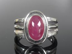 925 silver solitaire ring with ruby men's - ring size 67