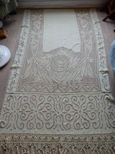 Curtain/panel entirely made in linen - light yellow - handmade - with fringes 2.40 m 1.30 m - 1900 -1920 - France