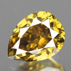 0.27 ct pear cut diamond natural fancy deep brown VS-2