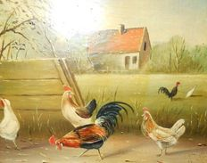 Jack Bekers - ( 1944 - 2016 ) - Rooster and chickens enjoying the barnyard