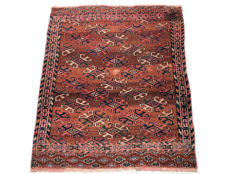 Handmade oriental rug: Authentic antique Tekke Boukhara, 115 x 97 cm, circa 1920!!