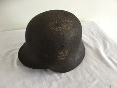 German helmet M-40 WW2. Remains Liner,Decal. Wehrmacht