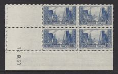 France 1929 - La Porte Rochelle - Yvert 261, type II in block of 4, with coin date.