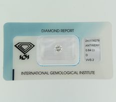 0.64 ct brilliant cut diamond, D, VVS2