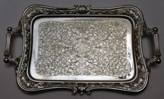 Antique Brevettato silver plated serving tray made in Italy