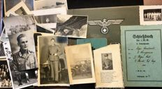 "WW II Photo album ""Memories of the Wehrmacht time"", photos, shooting book and field hymn book of one single Person, plus a newspaper 1938"
