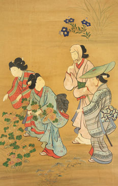 "Handpainted hanging scroll - ""Four Women and Autumn Flowers"" - Japan - ca. 1850-1899"