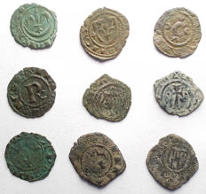 Italian Mints – Lot of 9 Swabian and Aragonese coins from the 12th Century
