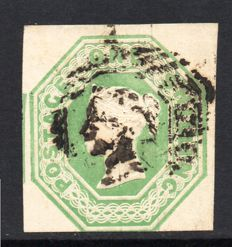 Great Britain Queen Victoria 1847 - 1 Shilling Pale Green Embossed, Stanley Gibbons 54