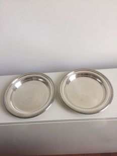 Set of 2 coasters with pearl rim (bottle, decanter) - Coll. Gallia - Christofle