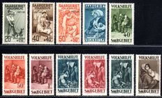 "Saarland 1927/1929 – ""Volkshilfe 1927 20c – 1.50 and Volkshilfe 1929 40c – 10 Fr."" – Michel 122/125 and 135/141"