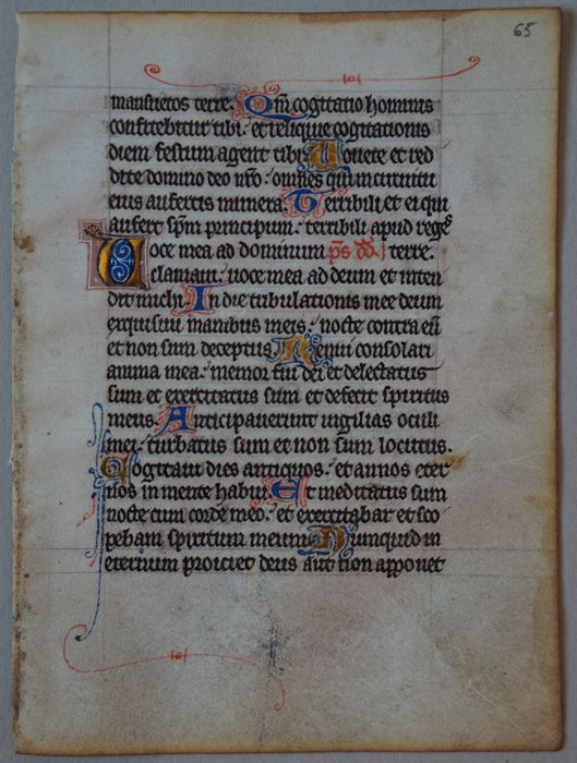 Medieval manuscript on vellum, 1 leaf taken from a bible - Mid 13th century
