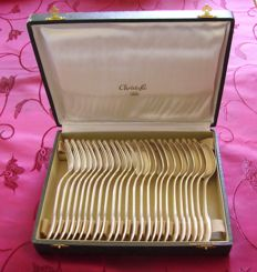 24 piece silverware set / Christofle / scallop shell model / France / 1935 /
