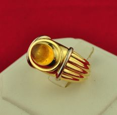 "Boucheron - ""Jaipur"" 18karat Yellow Gold & Amber Ring - E.U Size 50 resizable"