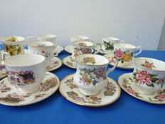 11 Pieces of miscellaneous English cups & saucers Queens, Salisbury, Eisabethan, Qeeueen Anne, Winchester, Richmond, Royal Stafford