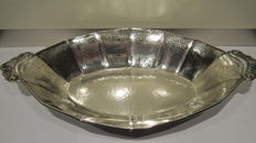 Silver hammered bread tray, 20th century