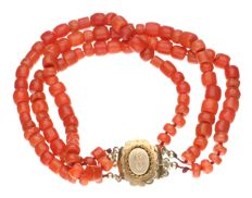 3-row blood coral bracelet with yellow gold tooled clasp