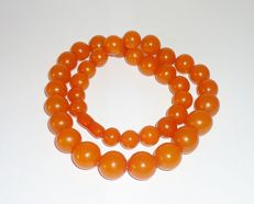 Old pressed Baltic Amber orange/ butterscotsch necklace, 52 gr.