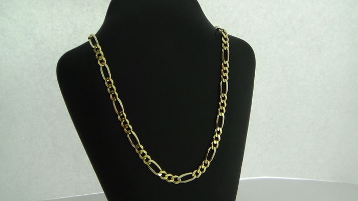Gold Figaro link necklace, 14 kt, length: 49.5 cm – 12.6 g