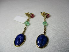 18 kt gold earrings with lapis lazuli, emerald, tourmaline – Length: 5 cm